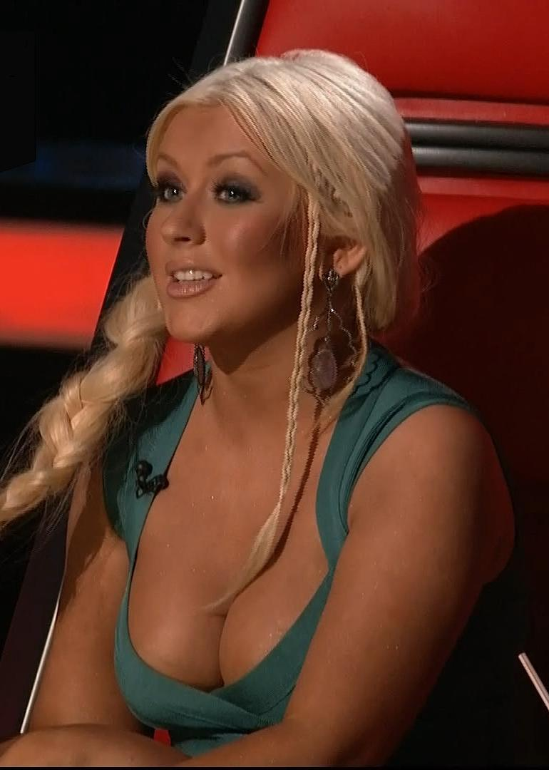 Christina Aguilera Braids Voice Cleavage
