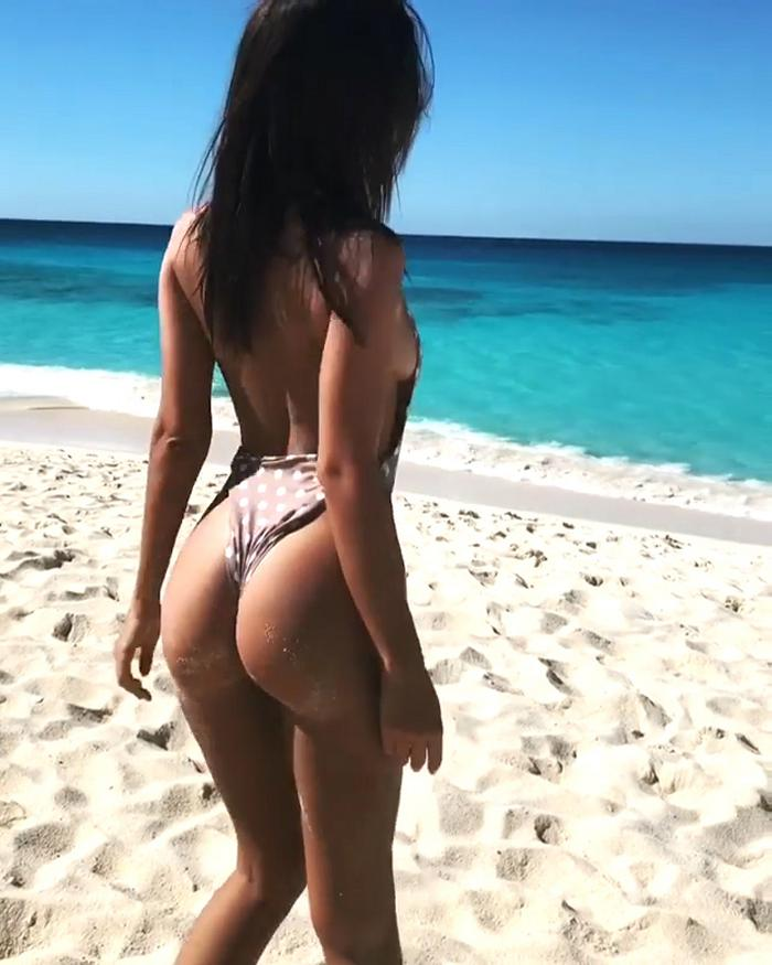 Emily Ratajkowski Swimsuit Dots Beach Butt