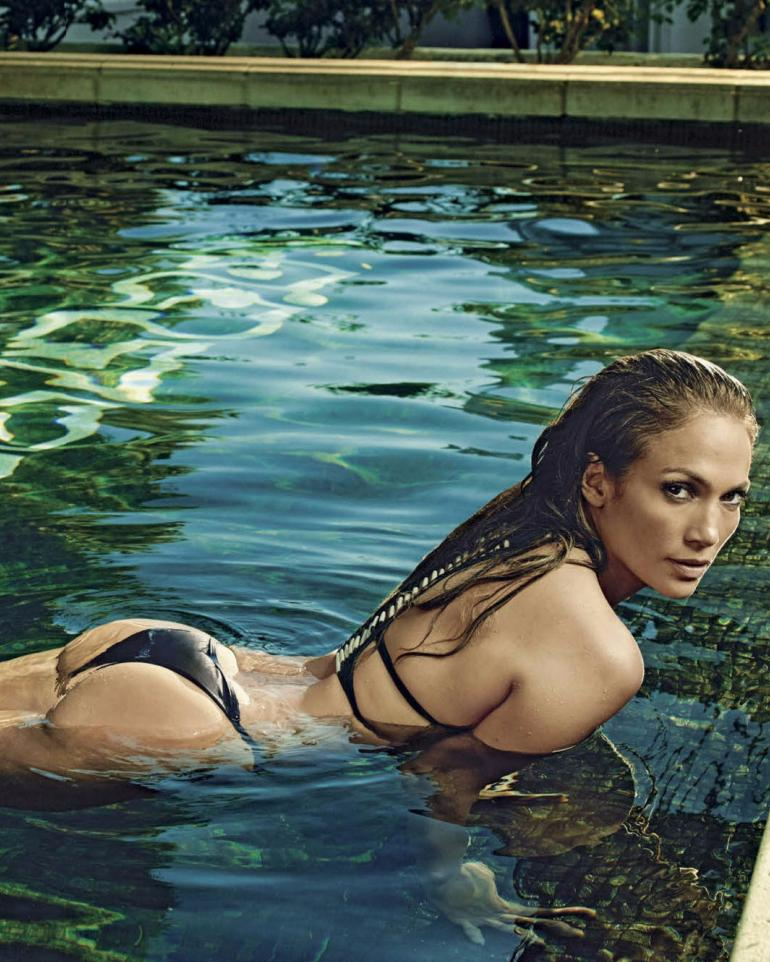 Jennifer Lopez Bikini Pool GQ Mx Butt