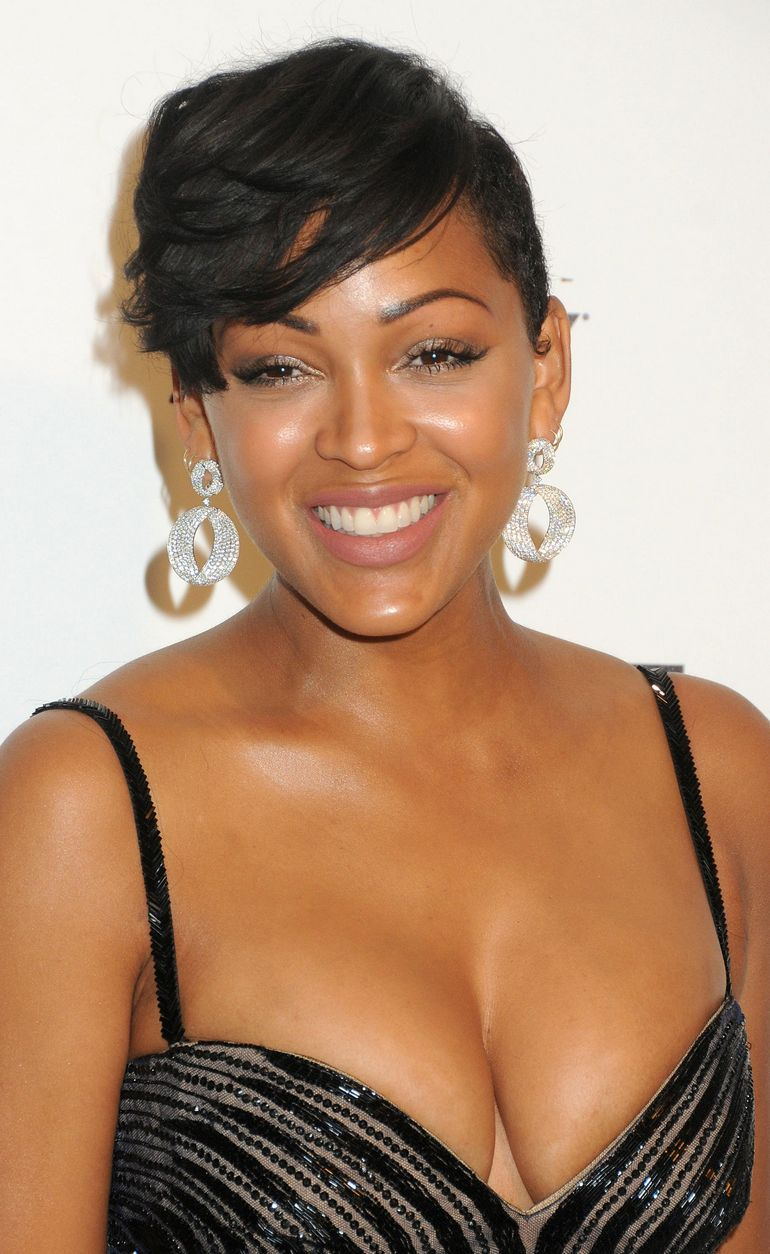 Meagan Good Oscars Elton John Party Cleavage