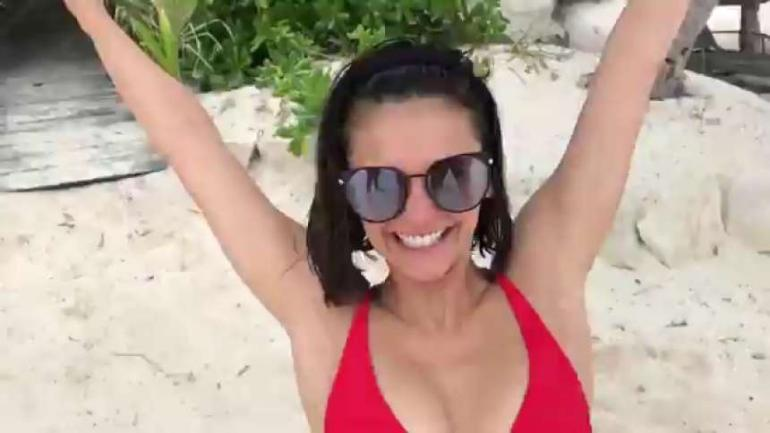 Nina Dobrev Red Bikini Dance Beach Butt