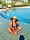 Lea Michele Bikini Smile Hat