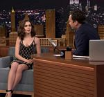 Lily Collins Legs Tonight Show